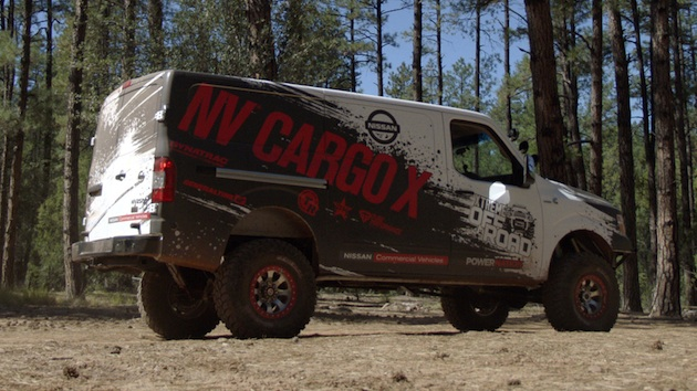 The Nissan NV Cargo X project vehicle, arguably the most extreme version of Nissan Commercial Vehicles' flagship NV Cargo van ever created, was built in partnership with legendary off-road builder Ian Johnson. The NV Cargo X stands over seven-and-a-half feet tall on 37-inch tires and is powered by a Cummins® 5.0L V8 Turbo Diesel transplanted from a Nissan TITAN XD full-size pickup.