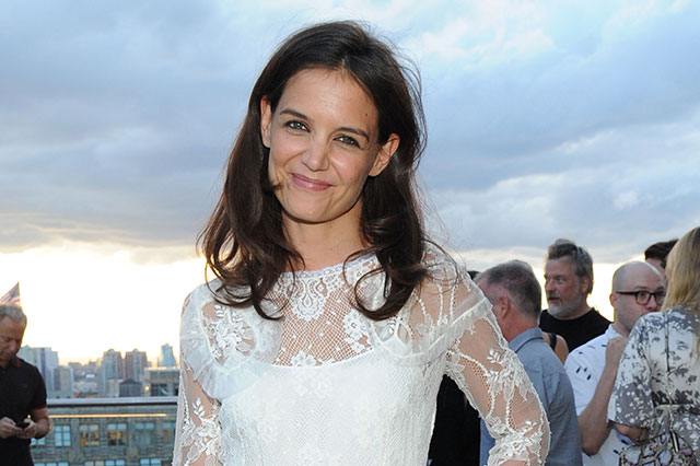 Katie Holmes is Beautiful in White Lace Dress at Rooftop Cocktail Party