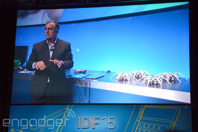 Intel CEO controls a swarm of robot spiders with just gestures
