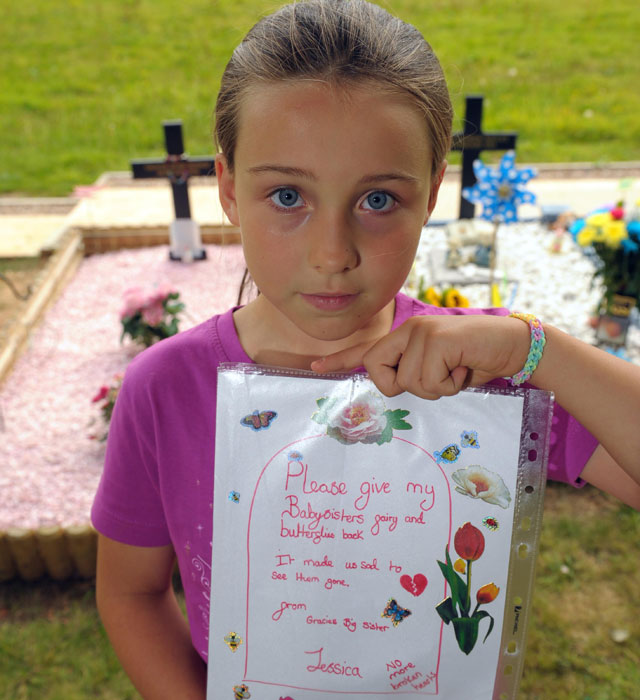 Girl, 9, writes heartbreaking letter to thieves who stole from her baby sister's grave
