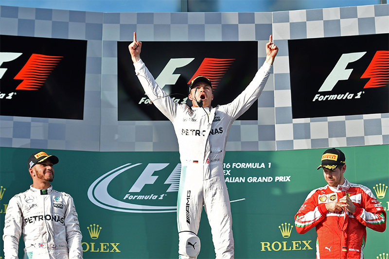 The podium at the 2016 Australian Grand Prix.