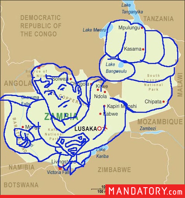 countries that look like pop culture references, funny country outlines, zambia superman