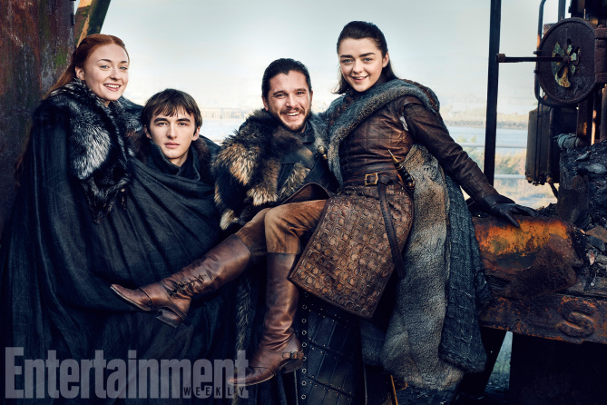 Game of Thrones (Season 7)L-R: Sophie Turner, Isaac Hempstead Wright, Kit Harrington, and Maisie WilliamsPhotograph by Marc Hom on November 22, 2016 in Belfast.