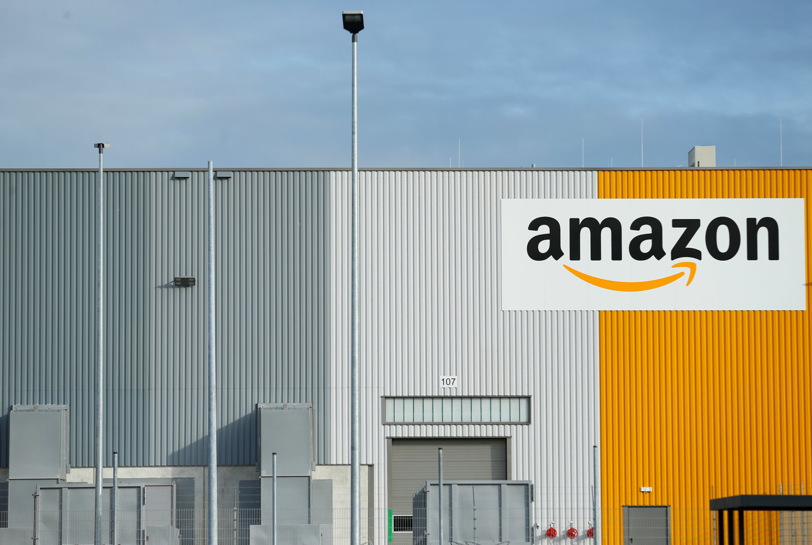 A view of the new Amazon logistic center with the company's logo in Dortmund, Germany November 14, 2017. REUTERS/Thilo Schmuelgen