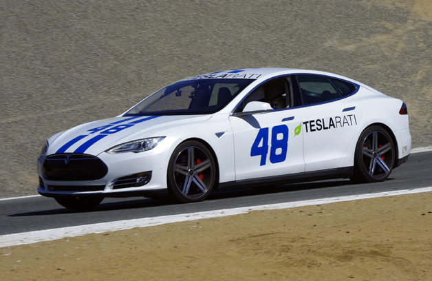 Teslarati 48 car finishing up the corkscrew at Refuel SportElectric TT