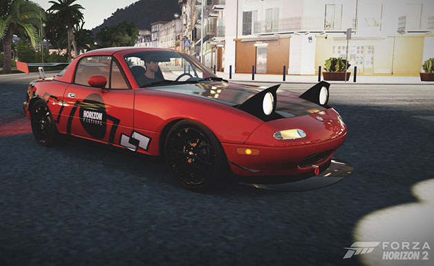 A 1994 Mazda MX-5 Miata done up in a special livery in the Forza Horizon 2 video game.