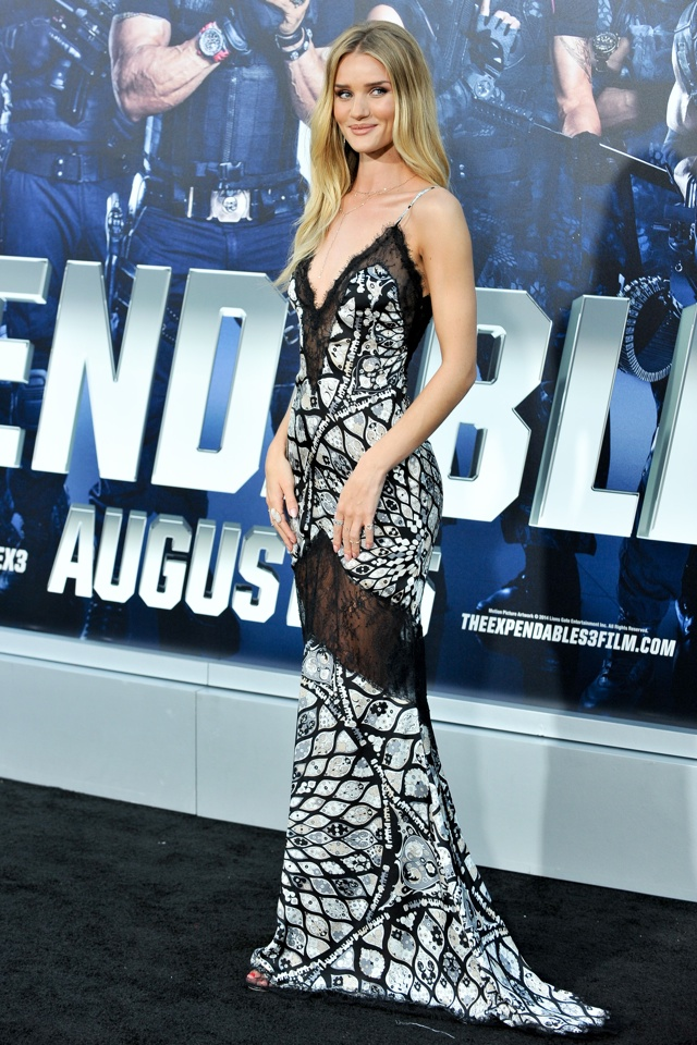 Rosie Huntington-Whiteley wows in sheer dress at Expendables 3 LA premiere