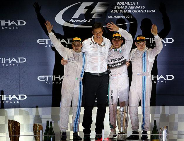 The final podium at the 2014 Abu Dhabi F1 Grand Prix.