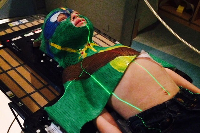 Harley Renshaw wears Ninja Turtle mask for cancer treatment