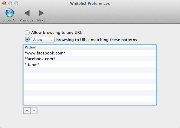 Whitelist Preferences for Fluid Facebook app