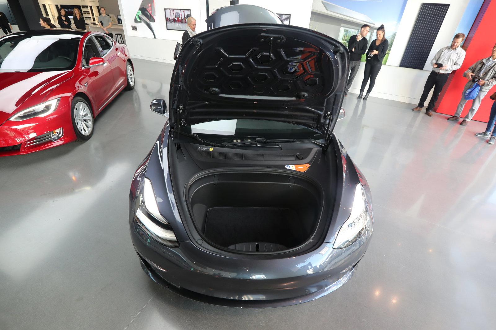 A Tesla Model 3 is seen in a showroom in Los Angeles, California U.S. January 12, 2018. REUTERS/Lucy Nicholson