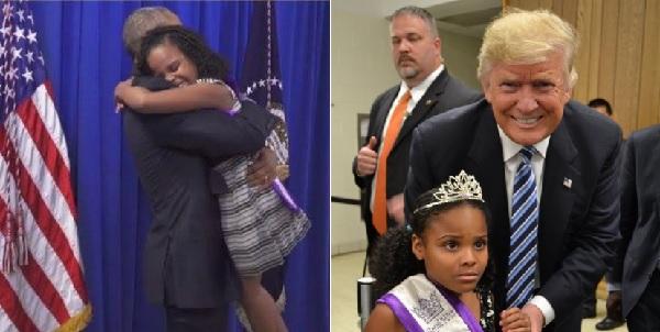 オバマ大統領とトランプ氏の両方と対面した少女、そのリアクションの差が話題に