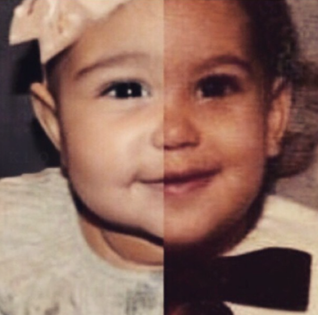 Kim Kardashian post cute pic of herself as a baby next to North