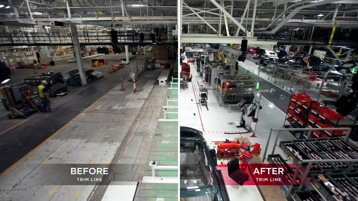 tesla factory before and after