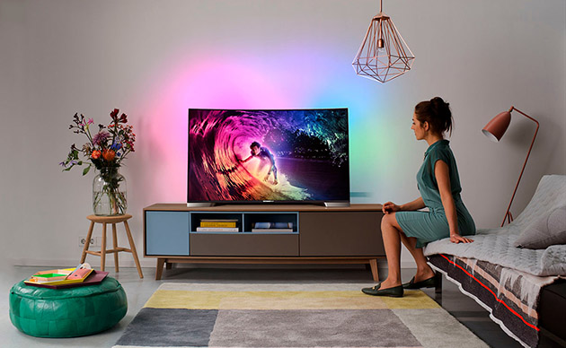 Philips 39 new curved tv and 4k media player run on android for Living room with 65 inch tv