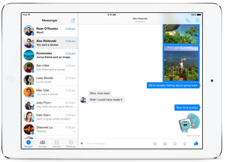 Facebook Messenger ya tiene versión nativa para iPad