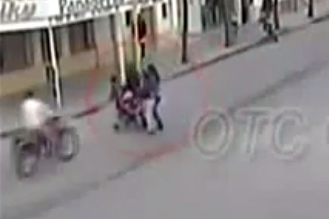 Shocking video shows moment motorcycle hits baby in a buggy