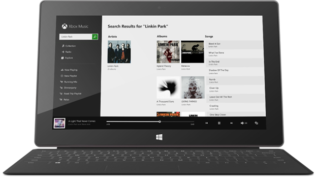 Xbox Music on a Surface tablet