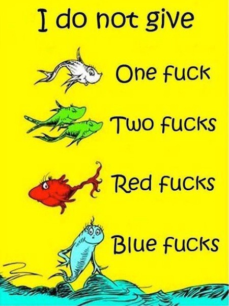 dr seuss parody book covers, one fish two fish red fish blue fish, i do not give one fuck two fucks red fucks blue fucks