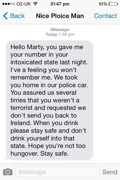 Drunk Guy's Text From Police Officer Proves That Some Cops Are Awesome