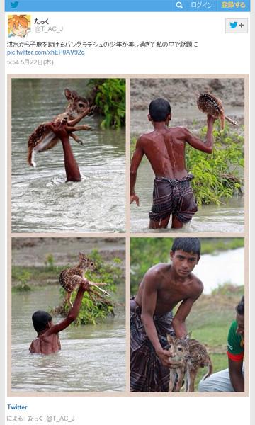 仔鹿を助ける少年の写真にネット上が感動の嵐 「かっこよすぎる」「マネできない」