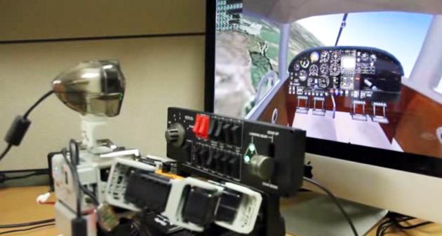 Pibot flying a simulator using real controls