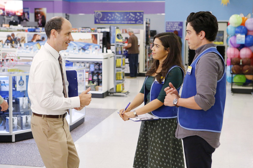 "SUPERSTORE -- ""Back to Work"" Episode 203 -- Pictured:(l-r) Michael Bunin as Jeff, America Ferrera as Amy, Ben Feldman as Jonah -- (Photo by: Trae Patton/NBC)"