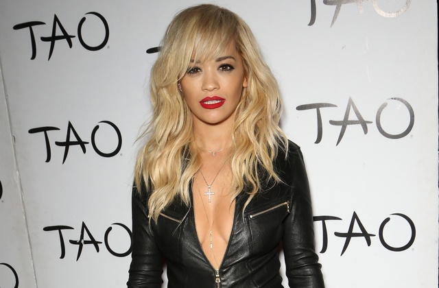 Rita Ora Dares to Bare In Cleavage-Revealing Leather Jumpsuit in Las Vegas