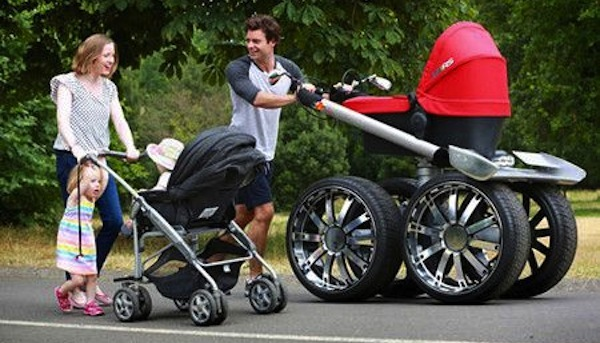 funny dads, best dads, dad with super stroller