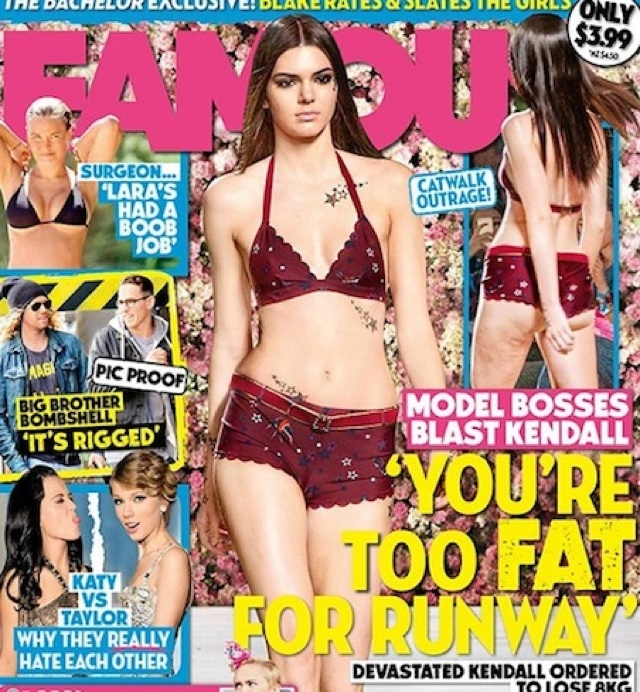 Famous magazine photoshops cellulite on Kendall Jenner's thighs