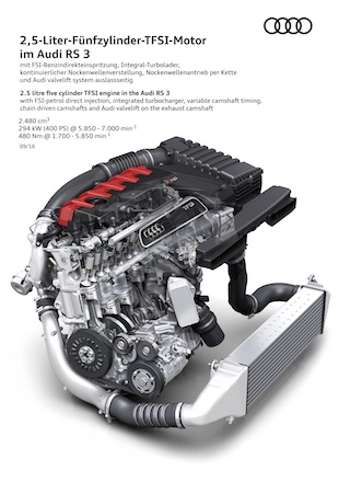 2.5 litre five cylinder TFSI engine in the Audi RS 3