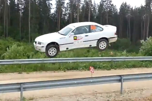 BMW M3 gets some air in Estonia