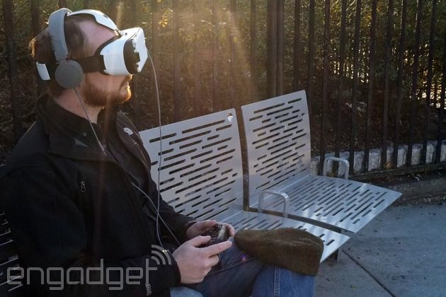 Samsung Gear VR with headphones and Bluetooth gamepad connected