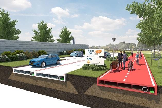 【レポート】ペットボトルなどの再生プラスチックで造る道路を、オランダの会社が考案