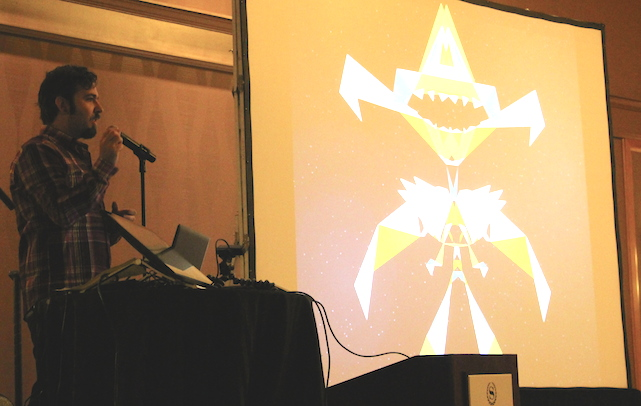 Surya Buchwald demonstrates MakeSpaceShip app at 360 iDev