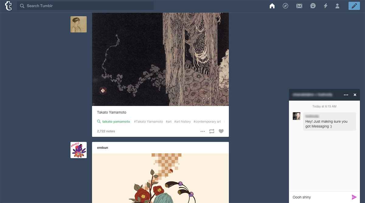 Tumblr starts rolling out instant messaging
