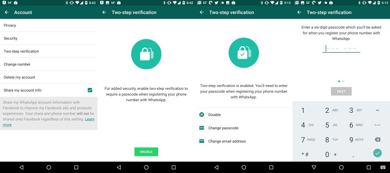 Whatsapp 2-factor setup