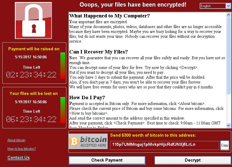 WannaCrypt ransom note