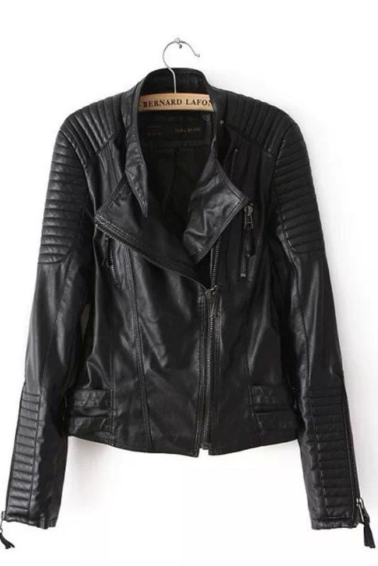 Black Faux Leather Quilted Sleeves Soft Moto Jacket