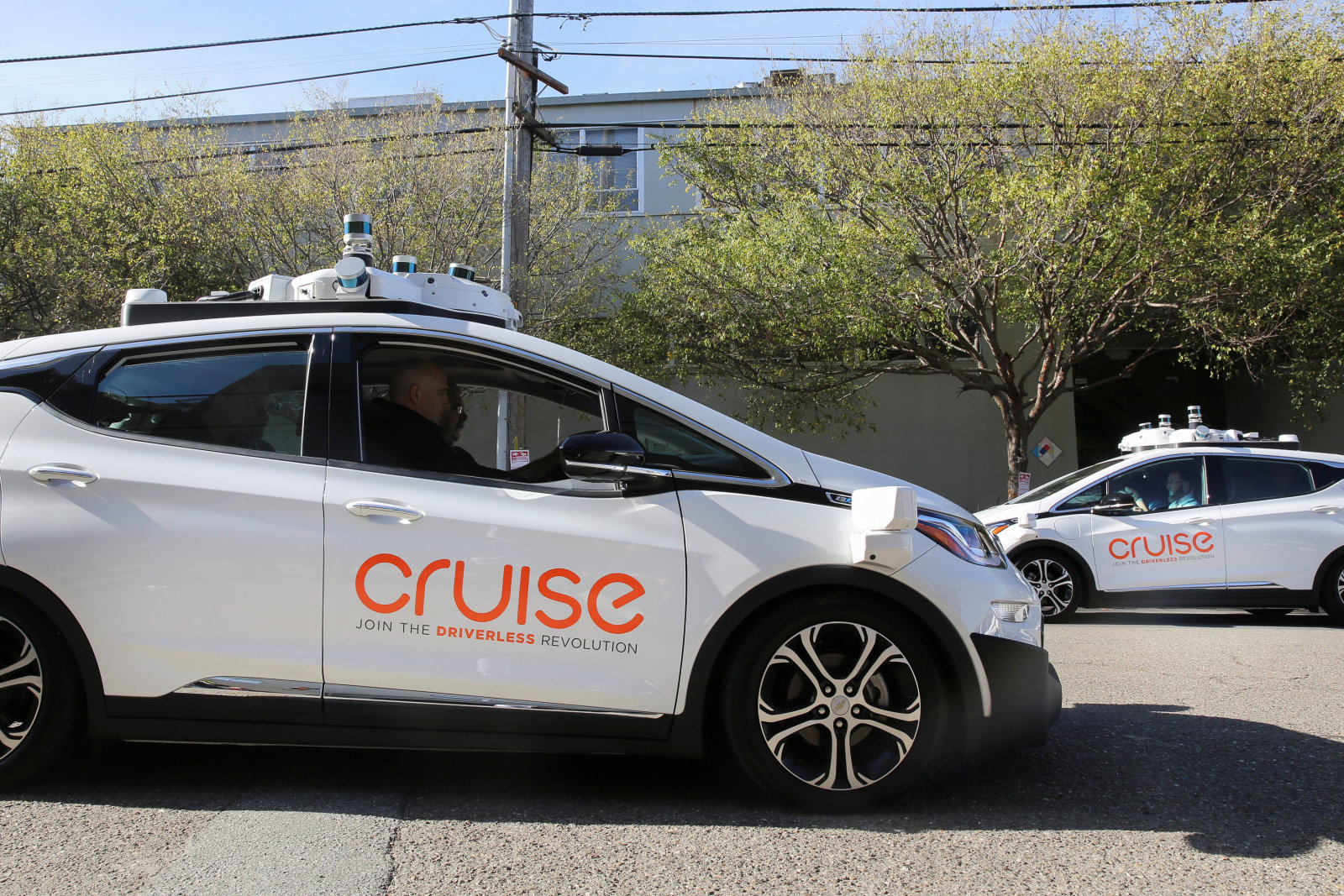 Two self-driving Chevy Bolt EV cars are seen during a media event by Cruise, GM's autonomous car unit,  in San Francisco, California, U.S. November 28, 2017. REUTERS/Elijah Nouvelage