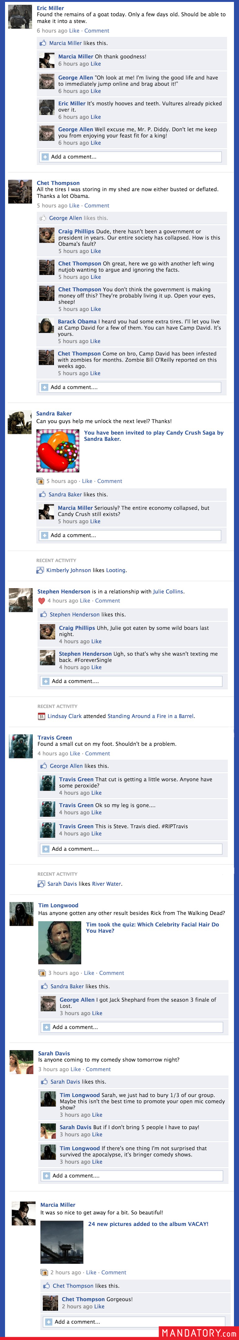 What Your Facebook Timeline Will Probably Look Like After The Apocalypse