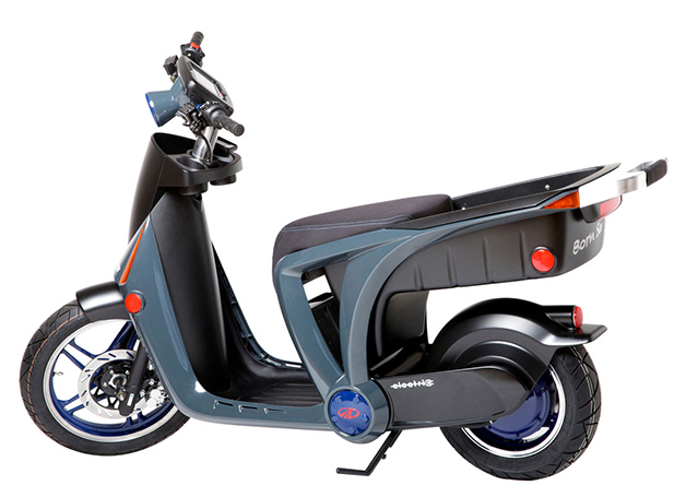 Mahindra GenZe electric scooter, side view.
