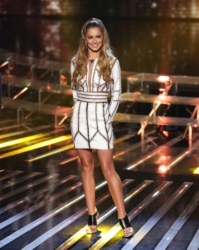 Cheryl FV wows in white minidress on X Factor results show
