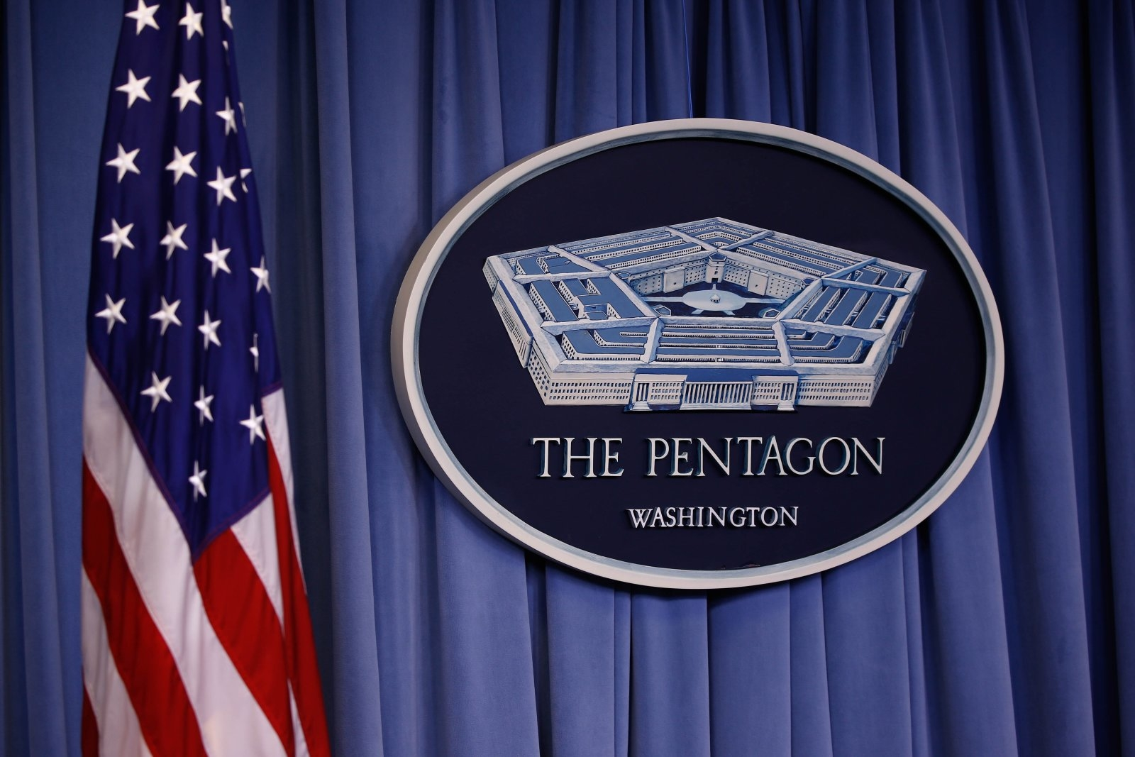 WASHINGTON DC, USA - APRIL 13: US flag and Pentagon logo are seen before the press conference of U.S. Defense Secretary Mattis and Chairman of the Joint Chiefs of Staff Gen. Dunford on Syria at the Pentagon in Washington, United States on April 13, 2018. (Photo by Yasin Ozturk/Anadolu Agency/Getty Images)