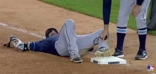 MLBの試合にレイズ外野手がハトの奇襲に遭い転倒!衝撃映像が話題に【動画】