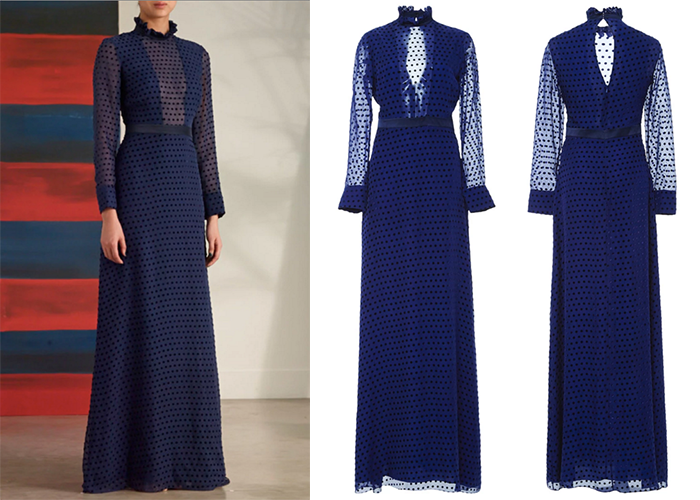 Kate Middleton navy blue polka dotted Saloni dress