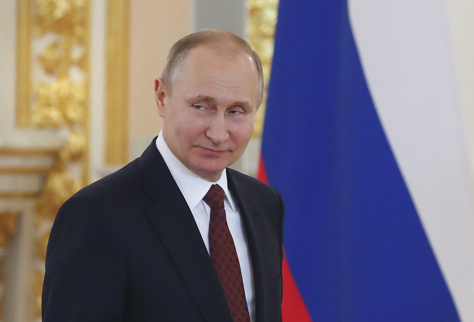 Russian President Vladimir Putin attends a ceremony to receive credentials from foreign ambassadors at the Kremlin in Moscow, Russia April 11, 2018. Sergei Ilnitsky/Pool via REUTERS