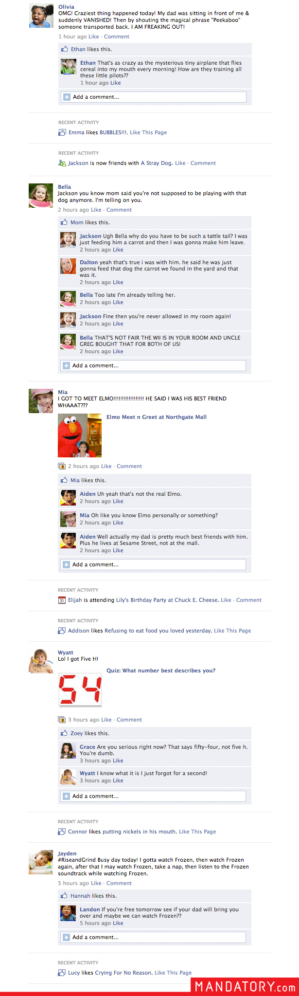 Facebook for Toddlers, Facebook for babies, funny facebook
