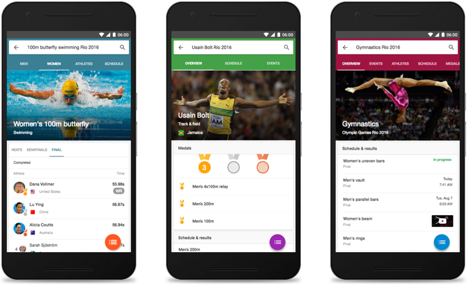 Google's search info for the 2016 Rio Olympic games