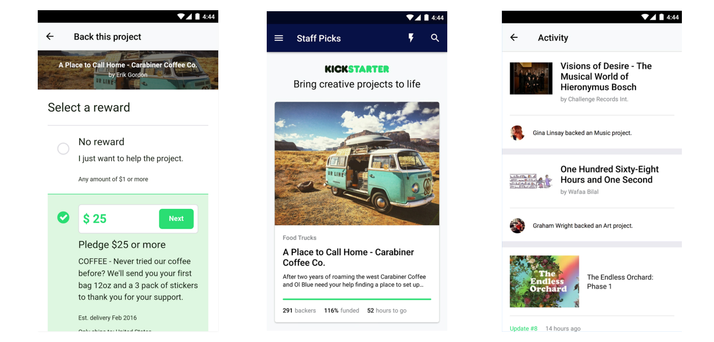 Kickstarter lets you crowdfund from your Android device